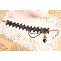Lady Black Lace Anklets Heart Charm Tassel Anklet Jewelry