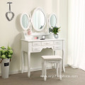 Vanity Set Tri-folding Mirror Make-up Dressing Table Padded Stool with 7 Drawers 2 Dividers