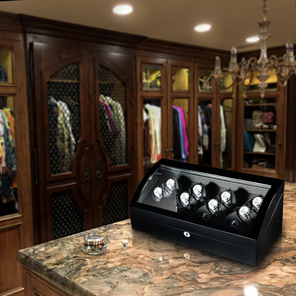black finish watch winder in dressing room