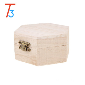 small pure color hexagon wooden jewel gift bracelet box