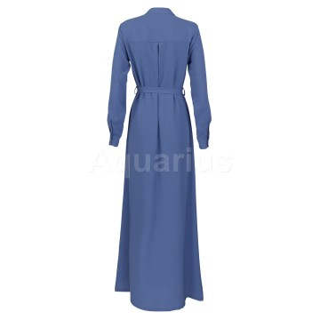 Blue Button A Line Dress