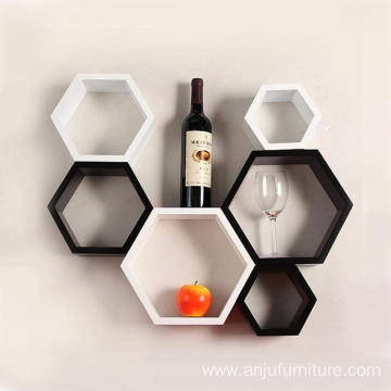 6 Piece Mount Hexagon Shape MDF Wall Shelf, Black and White