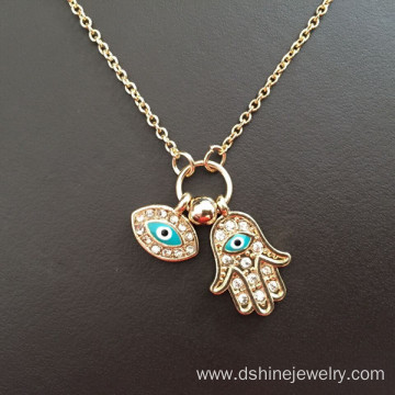 20 Years Factory for Key Rhinestone Alloy Necklace Long Chain Rhinestone Evil Eye Fatima's Hand Pendant Necklace export to Tonga Factory