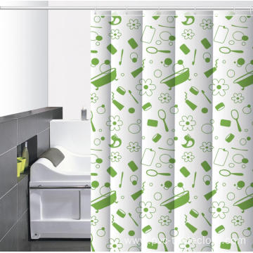 Waterproof Bathroom printed Shower Curtain Umbrella