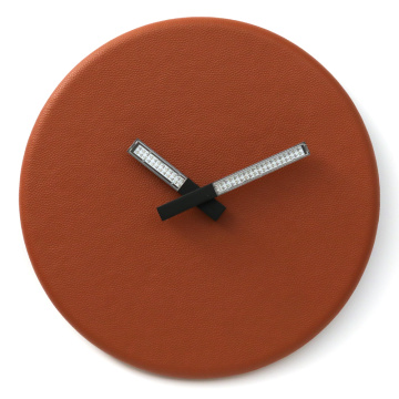 Round Wall Clock Orange Color with Light