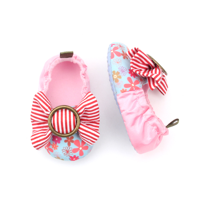 Red Striped Bow-knot Baby Pink Cotton Shoes