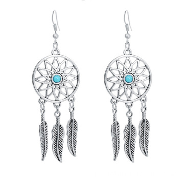 Dream Catcher pingente brincos liga pena Dangle brincos