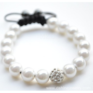 Weaved Shamballa Jewels White Pearl Crystal Ball Bracelet