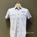 Men's cotton double chest pocket printed shirt