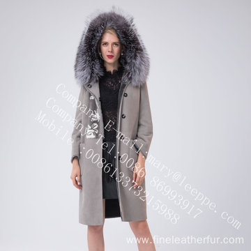 Hooded Spain Women Merino Shearling Coat