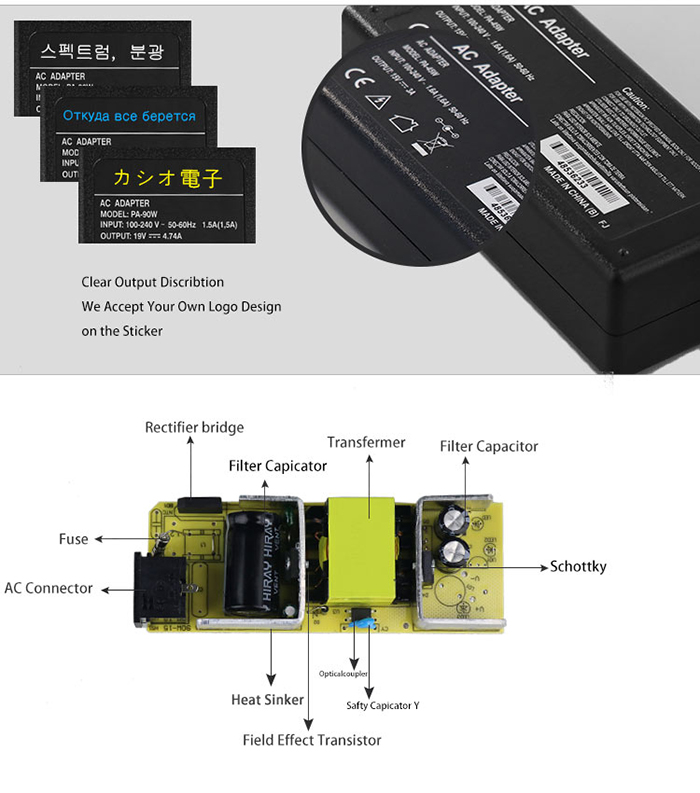 label design of laptop adapter