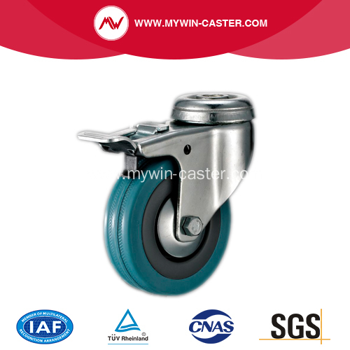 65mm Bolt Hole Grey Rubber Caster with Brake