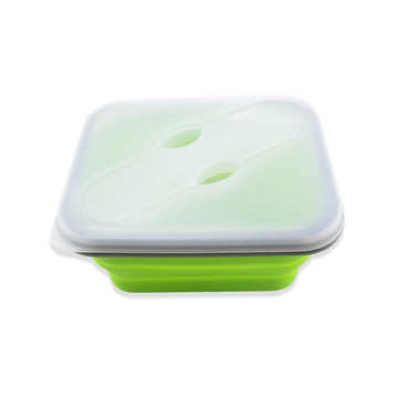 Food Grade Collapsible Rectangle Sealed Silicone Lunch Box