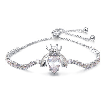 White Gold Plated Diamond Bee Charm Tennis Bracelet