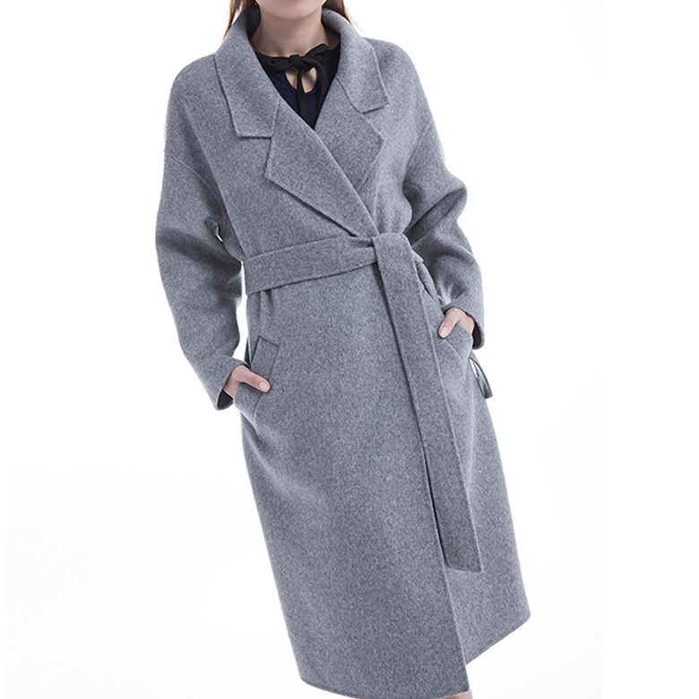 Grey 100% Long pure cashmere coat