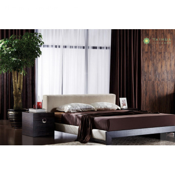 Modern Melamine Bed Bed Bed na may Beige Fabric Cushion