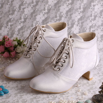 Chunky Heel Lace-up Bridal Boots Wedding