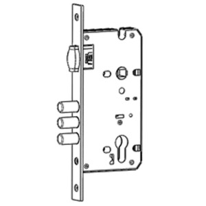 Roller latch mortise lock with round deadbolts