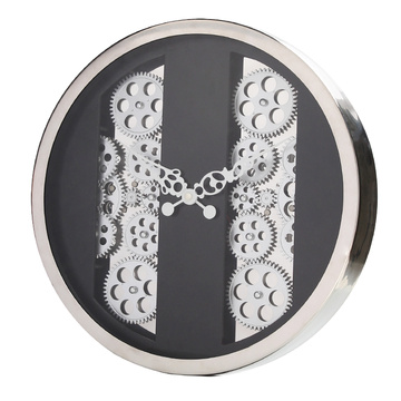 Modern wall clock with moving gears for home decoration