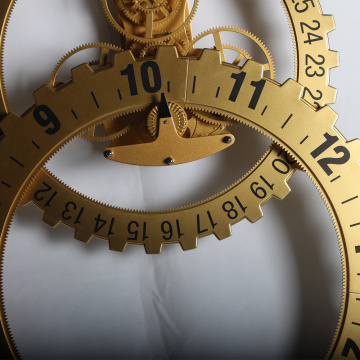 Golden Big Gear Wall Clock For Decor
