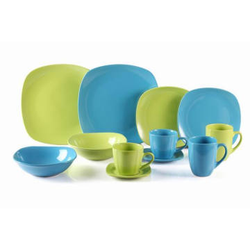 Stoneware Square Coloured glaze Dinner Set