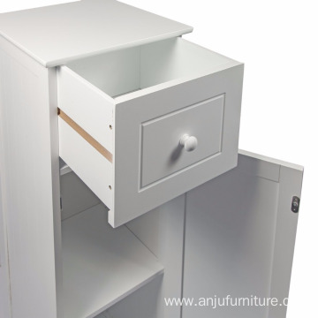 White Wood MDF Free-Standing Tall Cupboard Storage Unit Drawer MDF Free-Standing Tall Cupboard Storage Unit Drawer, Wood, White