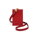 Saffiano Leather ID Card Holder with Neck Lanyard