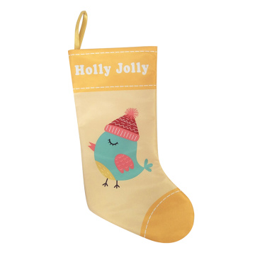 Christmas stocking with printed little bird