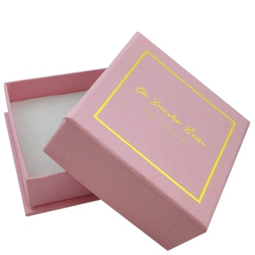 Pink Color Hot Stamping Embossing Paper Bralelet Box