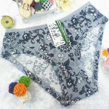 China wholesale new style printed floral grey sexy briefs bamboo fiber hipster 510
