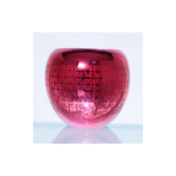 Glass Laser Engraved Ball Tealight Candle Holder