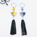 Gold Oil Heart Shape PU Leather Tassel Keychain Wholesale