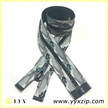 Customized Sublimation Printing Camouflage Plastic Zipper