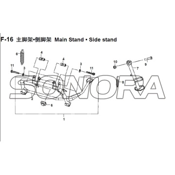 F-16 Main Stand • Side stand XS150T-8 CROX For SYM Spare Part Top Quality
