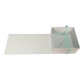 Teal Silk Ribbon Matte White Folding Paper Box