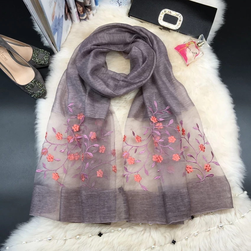 hand embroidered gauze scarf