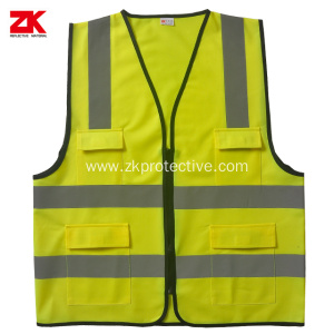 Yellow Multi-functional pockets warning vest