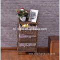 natural wood kitchen cabinet with four wicker storage drawers for home furniture