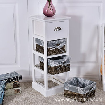 Wooden Bedside Table Wicker Nightstand Storage Drawer