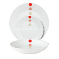 18 Piece Coupe Porcelain Dinner Set with Dots