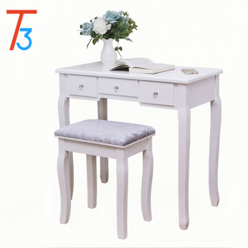 Collection make up white vanity mirrored table set with stool