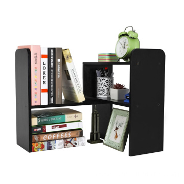 Desktop Bookshelf Adjustable Countertop Bookcase Office Supplies Wood Desk Organizer Accessories Display Rack, Black