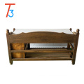 white antique solid wood shoe organizer bench with cushion and drawers