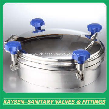 Sanitary circular manways with sight glass