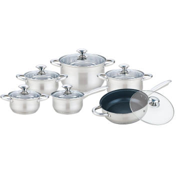 12 Pieces Cooking Pot Set with Non-stick Frypan