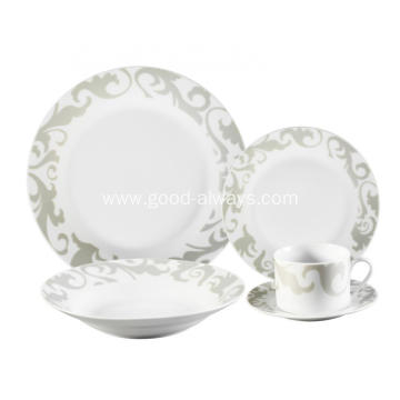 20 Piece Decal Porcelain Dinner Set with dots decal