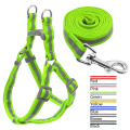 Nylon Reflective Dog Harness Leash Lead Set