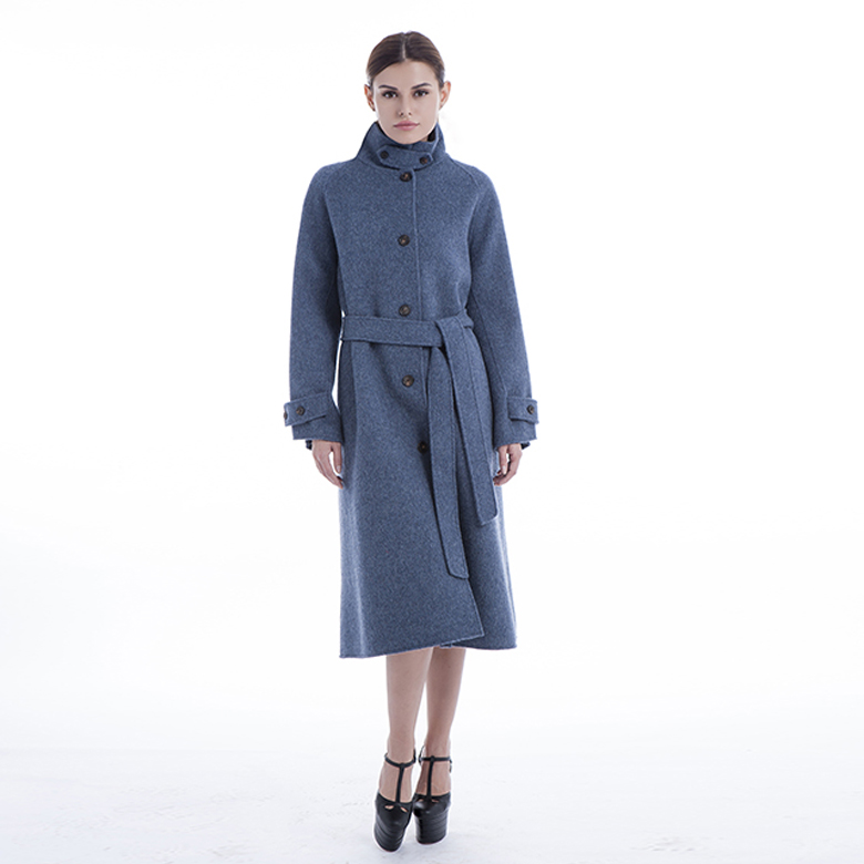 New model Single-breasted blue cashmere overcoat