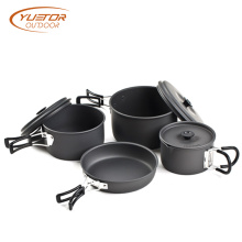 Travel Hiking Cookware Bowl Pot Pan Set di utensili