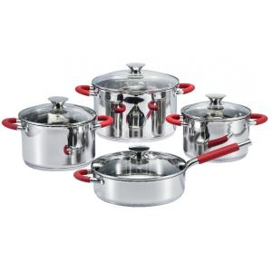 China Factory for Stainless Steel Cookware Sets Cookware Set With Red Silicone Heat Resistant Handles supply to South Korea Factories